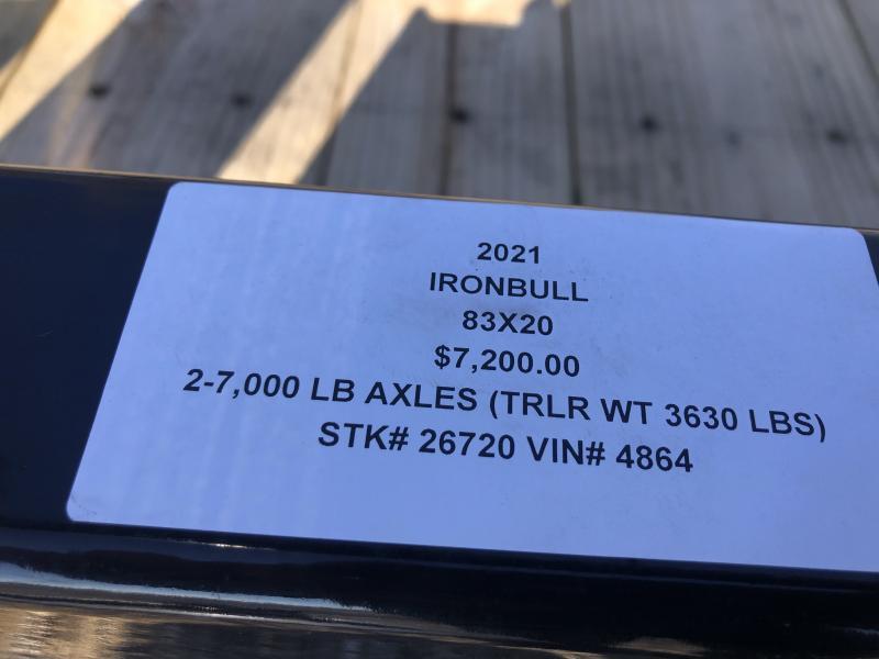 2021 IRON BULL 83X20 TILT LOPRO EQUIPMENT HAULER TRAILER