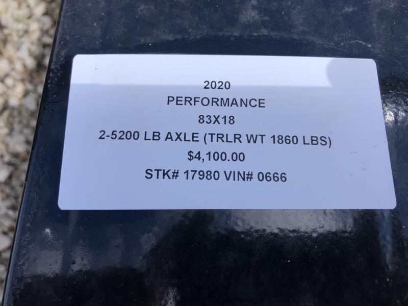 2020 PERFORMANCE 83 x 18 UTILITY TRAILER W/ 52K AXLES