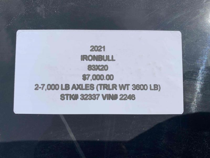 2021 IRON BULL 83X20 EQUIPMENT TRAILER W/ I-BEAM FRAME