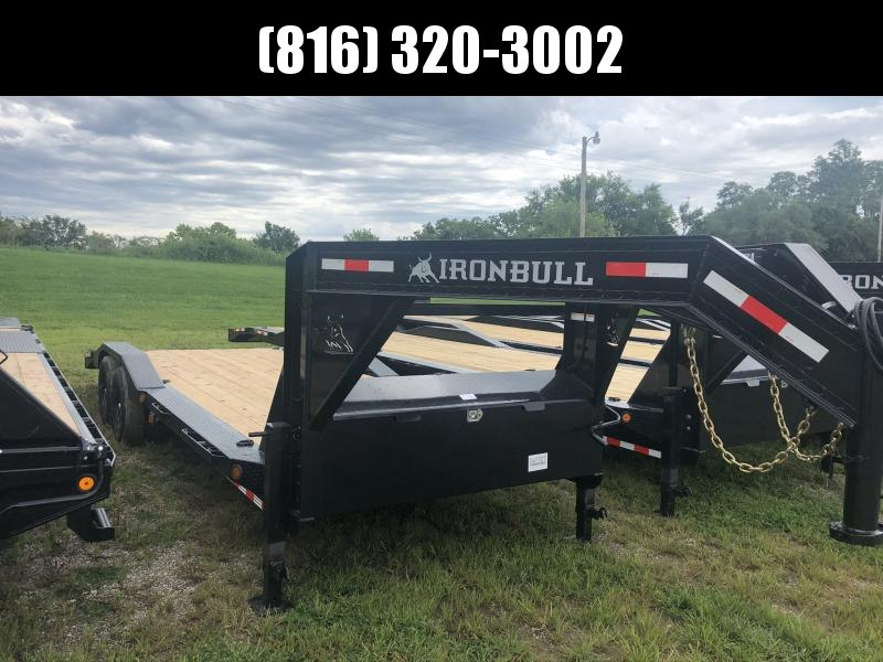 2020 IRON BULL 102 X 24 GOOSENECK EQUIPMENT HAULER TRAILER W/ DRIVE OVER FENDERS