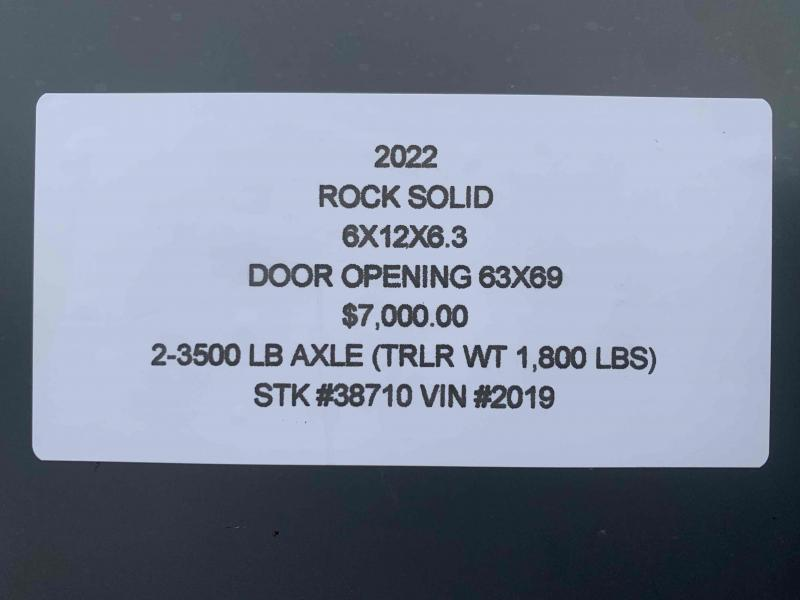 "2022 ROCK SOLID 6 X 12 X 6'3"" ENCLOSED CARGO TRAILER W/BLACK TRIM"