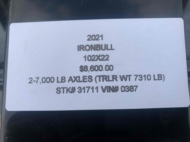 2021 IRON BULL 102X22 DECKOVER PINTLE EQUIPMENT HAULER TRAILER