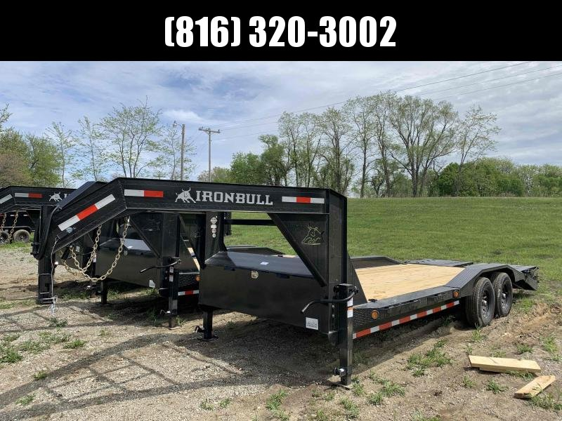 2021 IRON BULL 102 X 22 GOOSENECK EQUIPMENT TRAILER W/ DRIVE OVER FENDERS