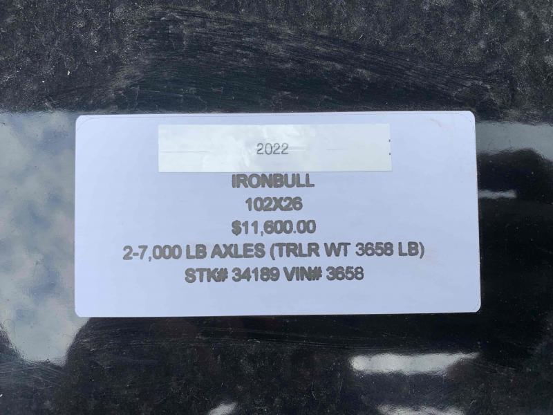2022 IRON BULL 102 X 26 GOOSENECK EQUIPMENT TRAILER W/ DRIVE OVER FENDERS