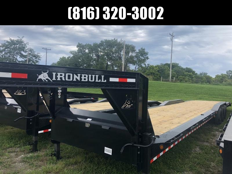 2020 IRON BULL 102 X 44 GOOSENECK TRIPLE AXLE EQUIPMENT HAULER TRAILER W/DRIVE OVER FENDERS