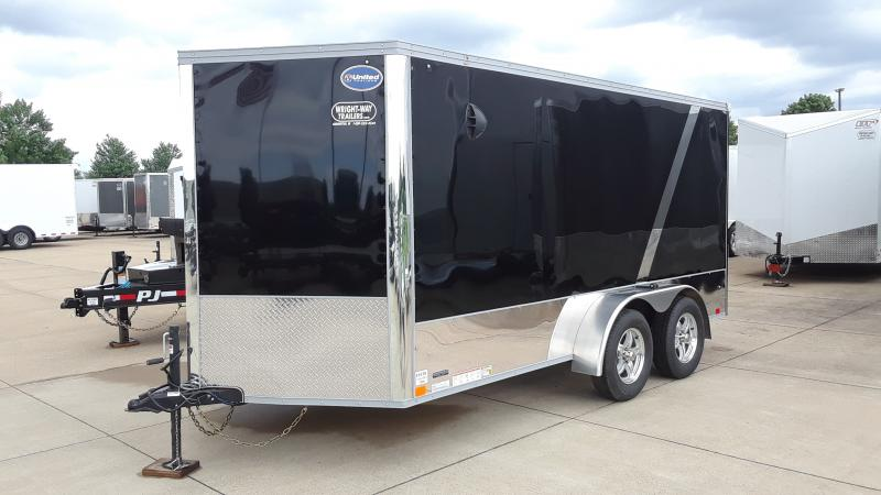 "2021 United Trailers 7X14 MOTORCYCLE TRAILER W/28"" WEDGE NOSE Enclosed Cargo Trailer"