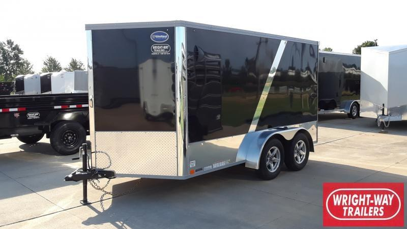 """2022 United Trailers 7'X12'+28""""WEDGE NOSE ENCLOSED Motorcycle Trailer"""