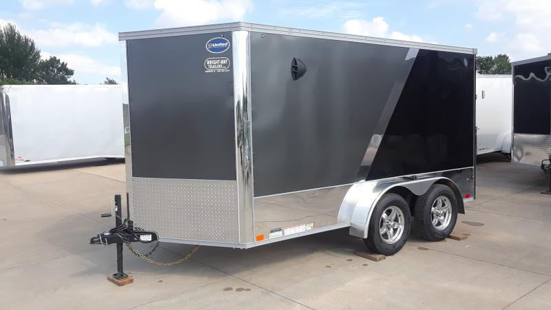 "2021 United Trailers 7X12 MOTORCYCLE TRAILER W/28"" WEDGE NOSE Enclosed Cargo Trailer"
