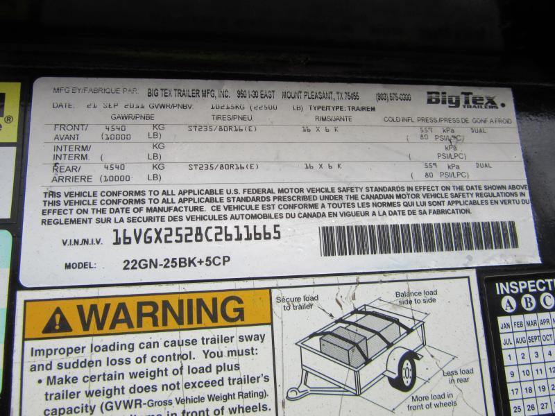 2012 Big Tex Trailers Gooseneck 25+5 22.5K Equipment Trailer