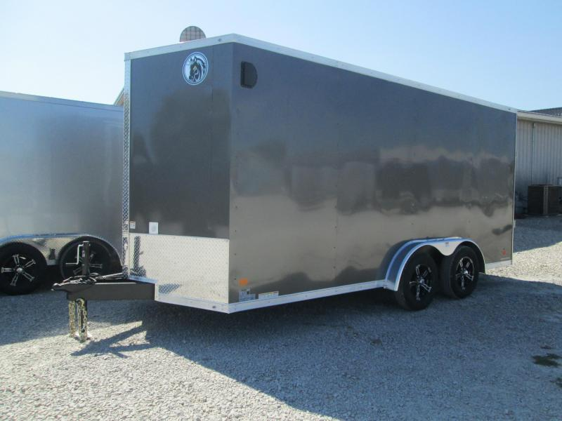 2021 7.5x16 7K Darkhorse DHW Vinyl Floor and Walls Enclosed Cargo Trailer. 01674