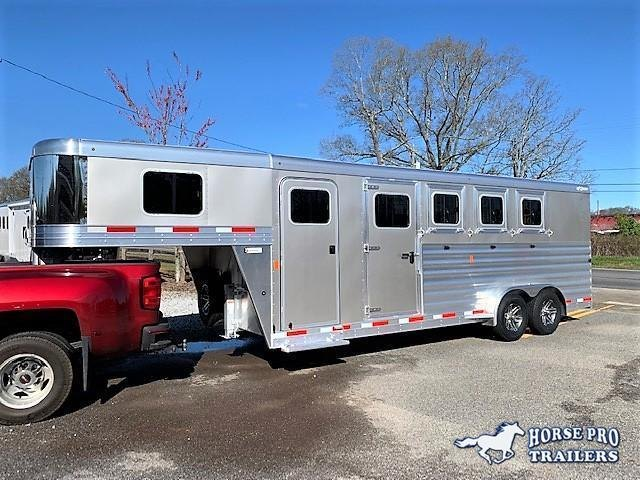 2021 Exiss 7400 4 Horse Slant Load Gooseneck w/POLYLAST FLOOR & INSULATED ROOF!