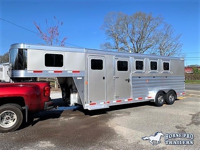 2022 Exiss 7400 4 Horse Slant Load Gooseneck w/POLYLAST FLOOR & INSULATED ROOF!