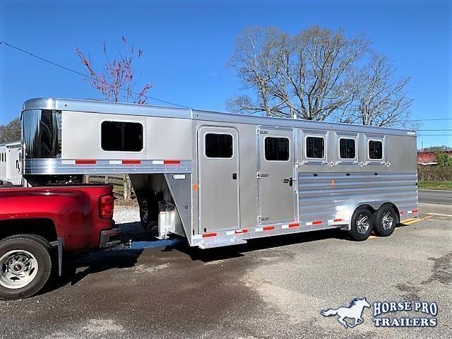 2022 Exiss 7400 4 Horse Slant Load Gooseneck w/Hydraulic Jack and Insul Roof