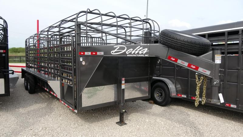 2021 Delta Manufacturing 2021 24 Delta 600 Cattleman Open/Bar Top Goosene Livestock Trailer