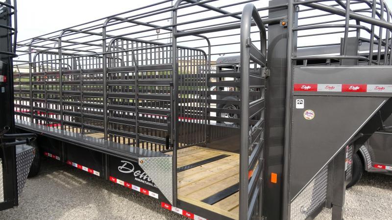 2021 Delta Manufacturing 2021 24 Delta 600 Cattleman Open/Bar Top Goosene Livestock Trailer