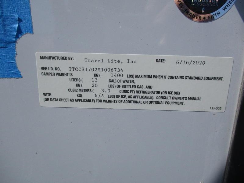 2021 Travel Lite Superlite 770RSL Shower Only