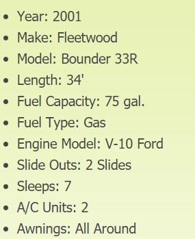 2001 Fleetwood Bounder 33R Class A RV