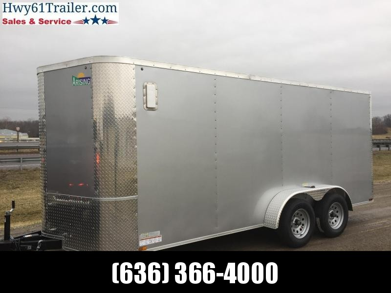 "2021 ARISING 7X16 TA V-nose ramp 3500 lb axles Side Vents 6'3"" Silver"