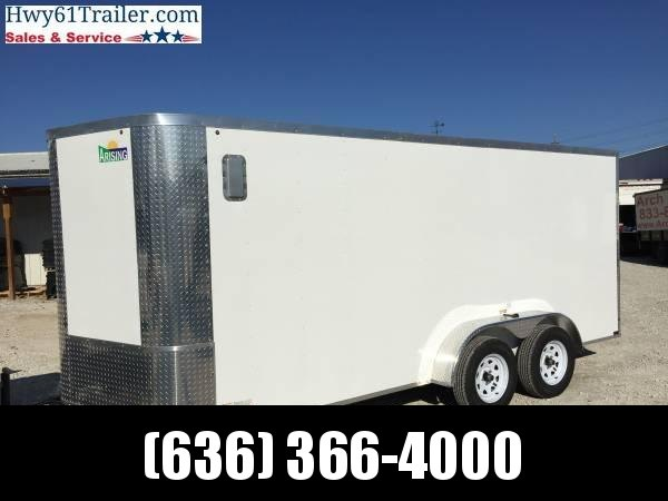 "2021 ARISING 7X16 TA V-NOSE RAMP DOOR 7'6"" 3500 LB AXLES WHITE WHOLESALE PRICE"