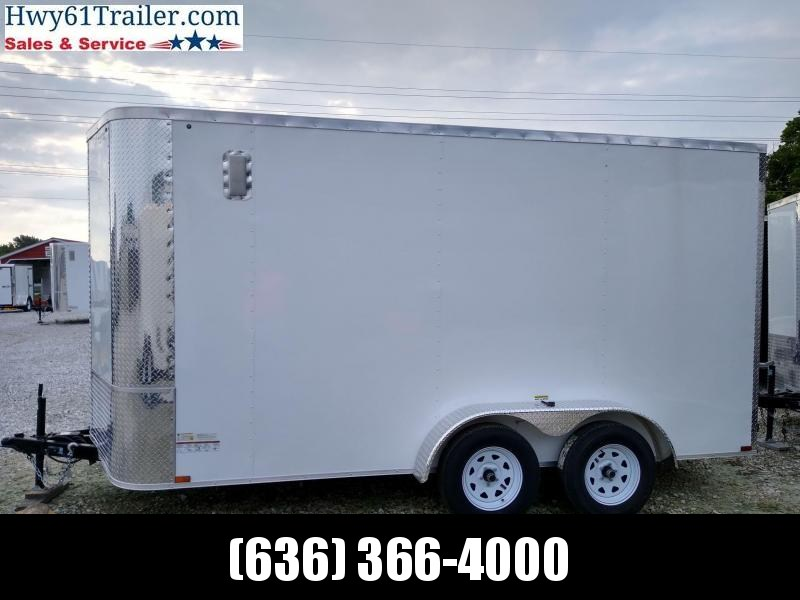 "20201ARISING 7X14 TA V-NOSE RAMP DOOR 3500 LB AXLES 7'6"" WHITE WHOLESALE"