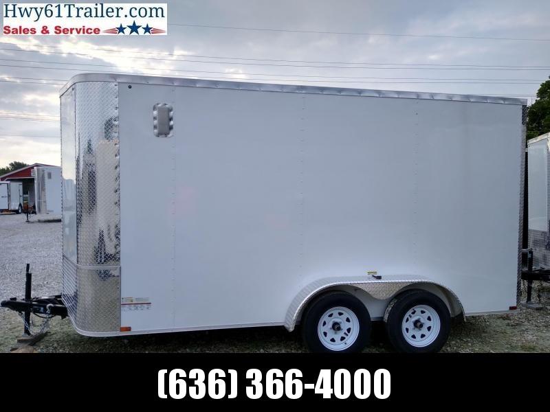 2020 ARISING 7X14 TA V-NOSE RAMP DOOR 3500 LB AXLES WHITE WHOLESALE PRICE