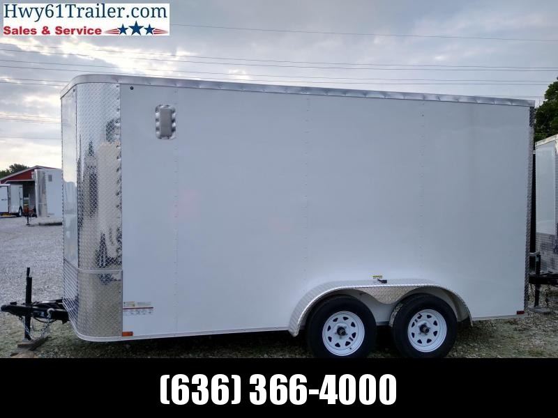"2021 ARISING 7X14 TA V-NOSE RAMP DOOR 3500 LB AXLES 7'6"" WHITE WHOLESALE"