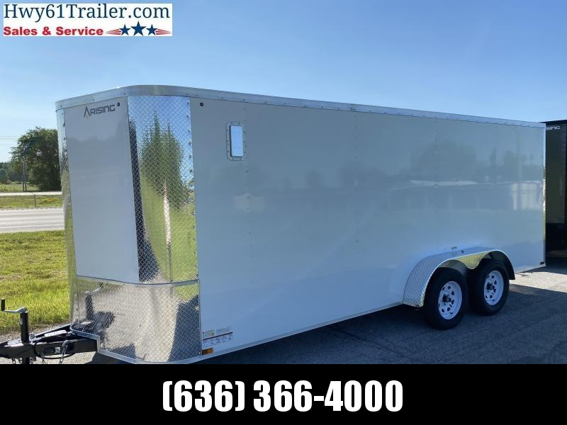 """2021 ARISING 7X18 TA V-nose 3500 AXLES SIDE VENTS 6'3"""" WHITE WHOLESALE PRICING!"""