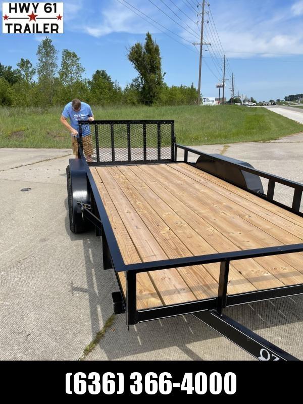 2021 OZARK 76x16 TA 7K 4' HD spring gate utility trailer