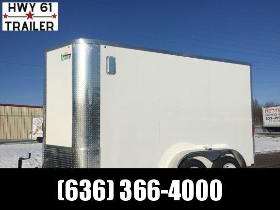 2021 ARISING 6X12 TA V-nose ramp 3500 lb axles side alum vents WHITE