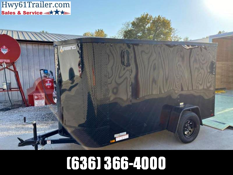 "2021 ARISING 6x12 SA V-nose ramp 3500 lb axles Side Vents Lockbar Semi Seamless 6'3"" Black Out"
