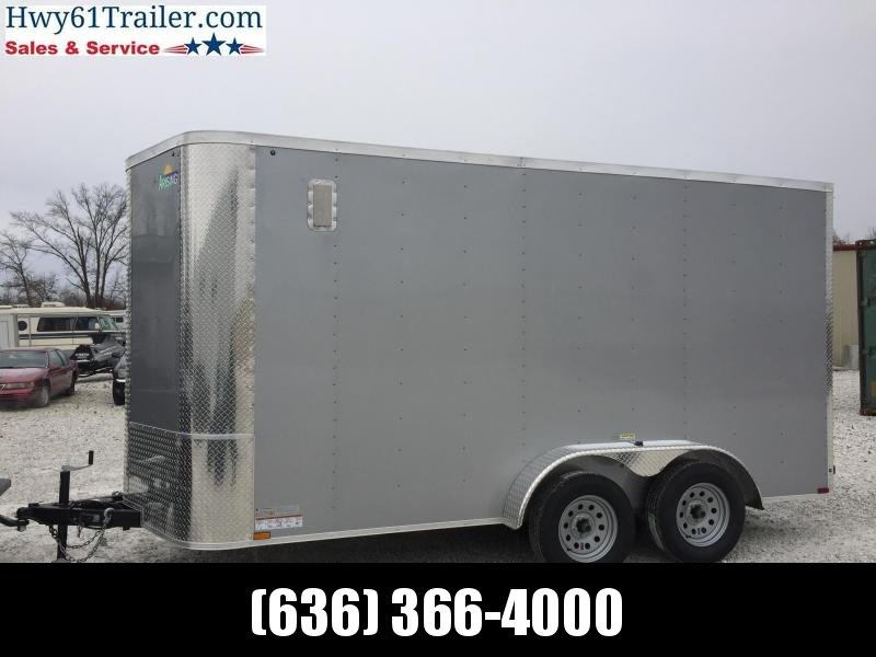 "2021 ARISING 7X14 TA V-nose RAMP 3500 LB AXLES SIDE VENTS LOCK BAR DOOR 6'3"" SILVER"