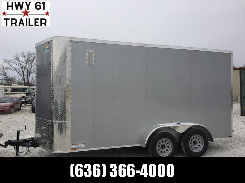"2021 Arising 7X14 TA 35K 6'3"" v-nose Silver enclosed"
