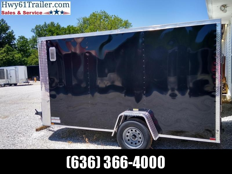 2020 ARISING 6x12 SA V-nose Ramp 3500 lb axles Side Vent Black