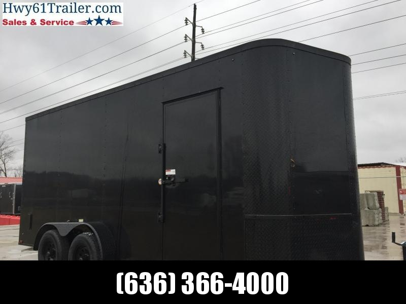 "2020 ARISING 7X16 TA V-nose ramp 3500 lb axles Side Vents Lockbar Semi Seamless 6'3"" Black Out"