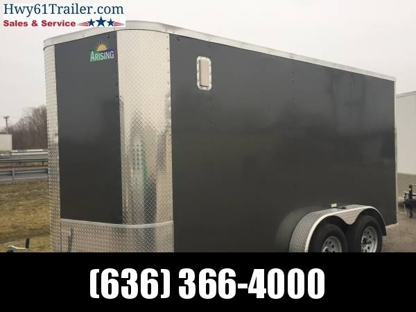 """2021 ARISING 7X14 TA V-nose ramp 3500 lb axles 6'3"""" EXTRAS Charcoal   WHOLESALE PRICES!!!"""