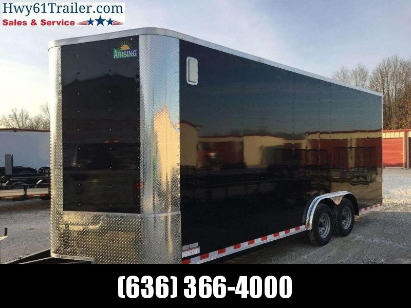 """2021 ARISING 7X18 TA V-nose 3500 AXLES SIDE VENTS 7'3"""" BLACK WHOLESALE PRICING!"""
