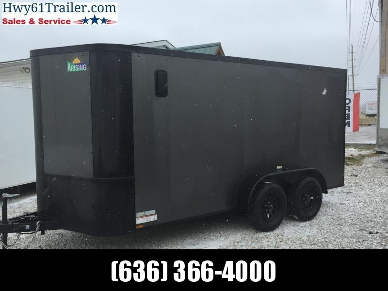 "2021 ARISING 7X16 TA V-nose RAMP 3500 LB AXLES SIDE VENTS LOCK BAR DOOR 6'3"" CHARCOAL/BLACKOUT WHOLESALE"