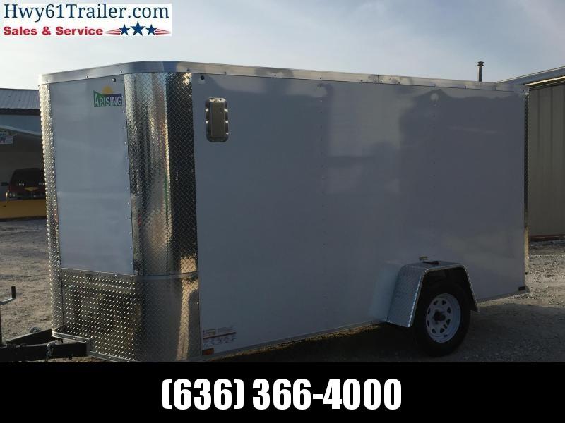 2020 ARISING 6X12 Single Axle Enclosed w/ 3500 lb Axle Ramp Door White