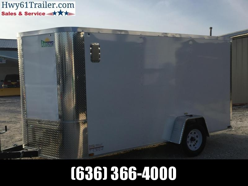 2020 ARISING 6X12 Single Axle Enclosed w/ 3500 lb Axle Ramp Door White