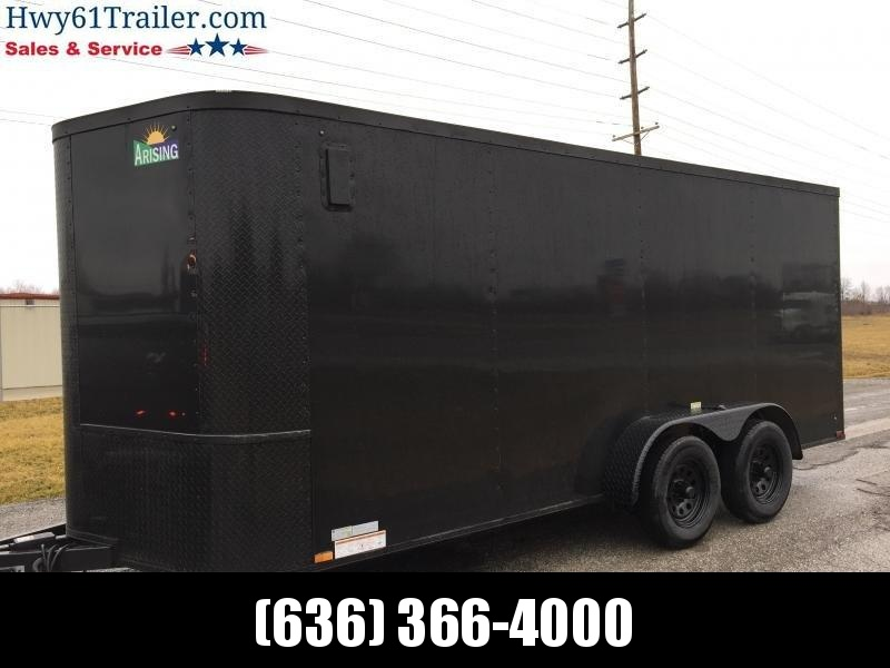 "2021 ARISING 7X16 TA V-nose ramp 3500 lb axles Side Vents Lockbar Semi Seamless 7'3"" Black Out"