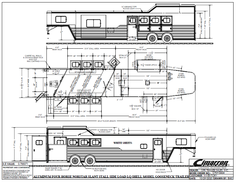 """2021 Cimarron 4 Horse Side Load with 14'8"""" Living Quarter Trailer"""