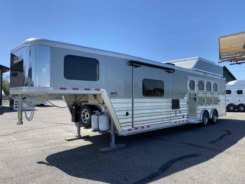 2021 Cimarron 4 Horse 13' LQ with Slide and Spread Axle Trailer
