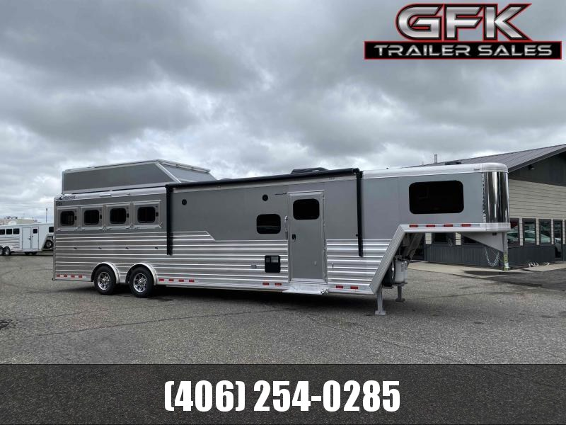 2021 Cimarron 4 Horse 13' LQ with Slide and Spread Axle Trailer