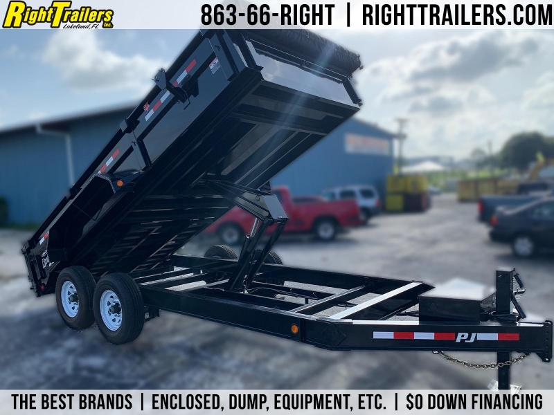 7x16 PJ Trailers | Low Pro Black w/ 7K Dexter Axle Dump Trailer