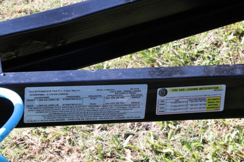 7x20 PJ Trailers 83 in. Tandem Axle Channel Utility I Utility Trailer