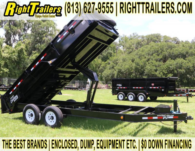 7x16 PJ Dump Trailer I w/ Tarp and Slide in Ramp