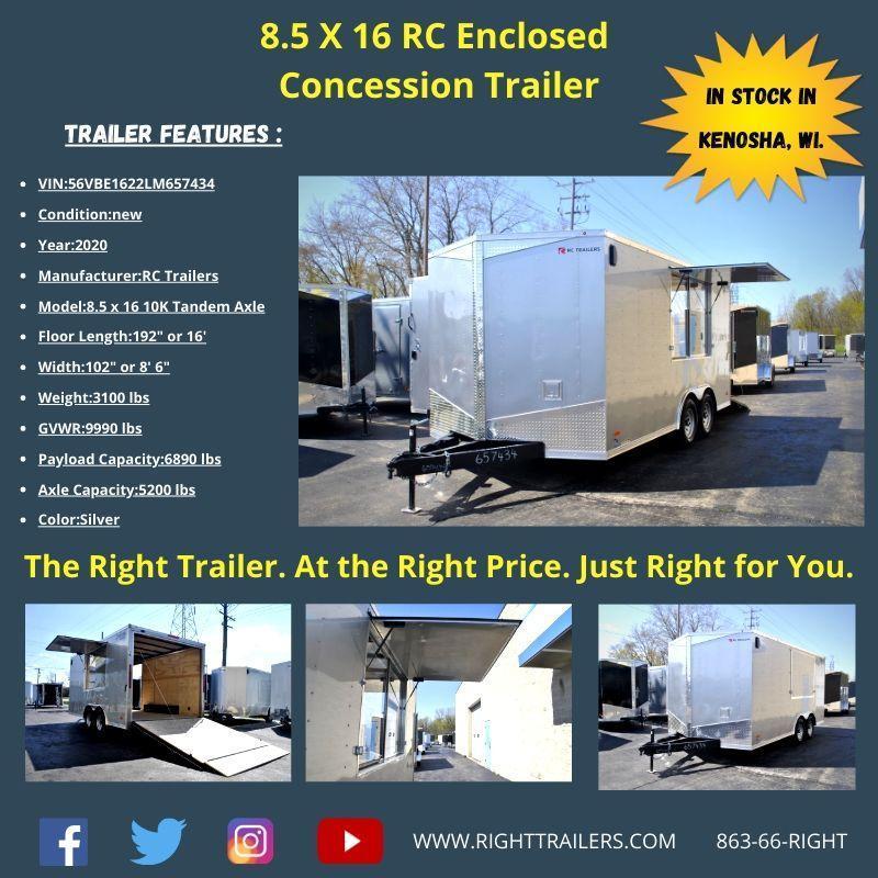 8.5X16 RC Trailers I Concession Trailer