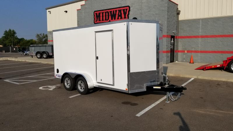 2021 Sure-trac 7'x12' 7k White Barn Door Enclosed Trailer