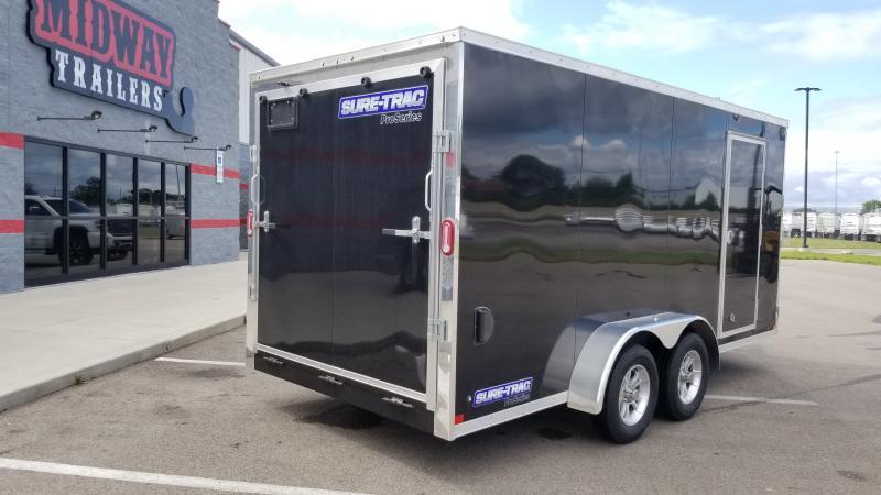 "2021 Sure-trac 7'x16'+6"" Hgt 7k Black Enclosed Trailer"