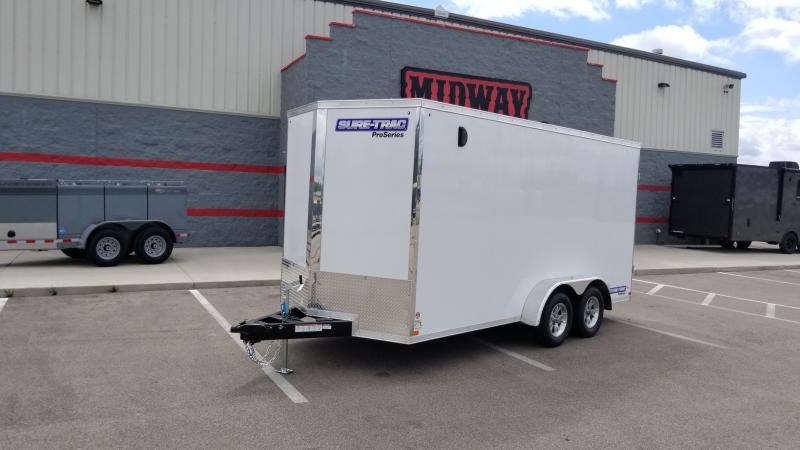 """2020 Sure-trac 7'x16'+6"""" 7k White Barn Door Enclosed Trailer"""